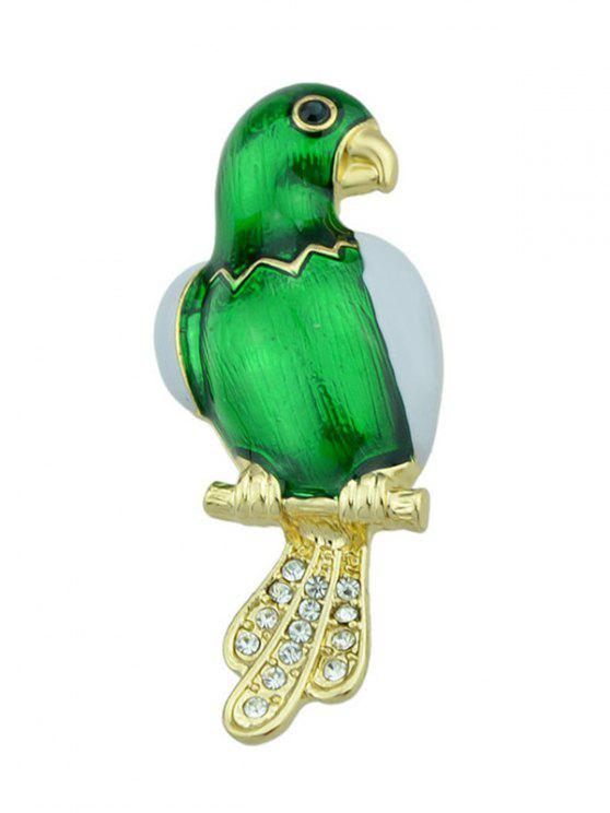 women Rhinestone Parrot Bird Embellished Brooch - GREEN