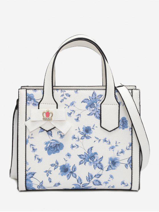 Bolsa florida do bowknot da flor - Azul