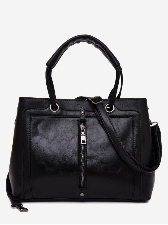 best PU Leather Zipper Detailed Tote Bag - BLACK