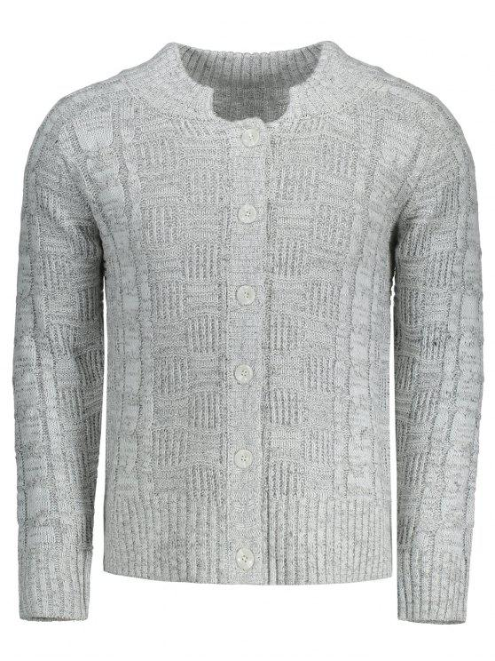 women's Buttons Cable Knit Cardigan - GRAY 3XL