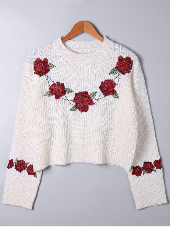 fashion Embroidery Cable Knit Sweater - WHITE ONE SIZE