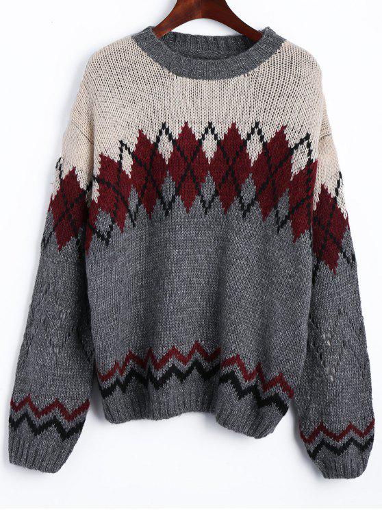 Drop Schulter Geometrische Jacquard Pullover - COLORMIX  Eine Größe