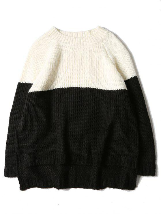 women Crew Neck Color Block Raglan Sleeve Sweater - BLACK WHITE L