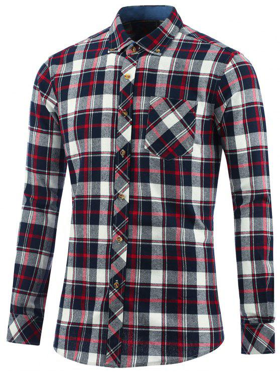 Button Down Collar Chest Pocket Plaid Shirt CHECKED: Shirts L | ZAFUL