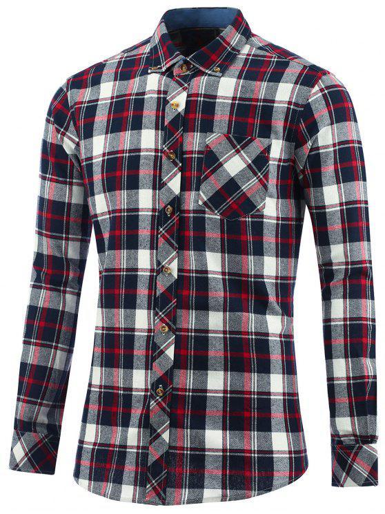 womens Button Down Collar Chest Pocket Plaid Shirt - CHECKED 3XL