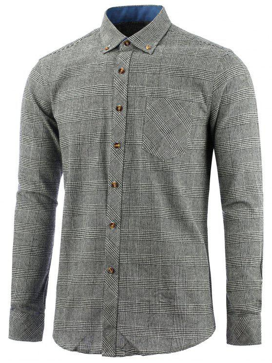 affordable Button Down Chest Pocket Check Shirt - GRAY 4XL