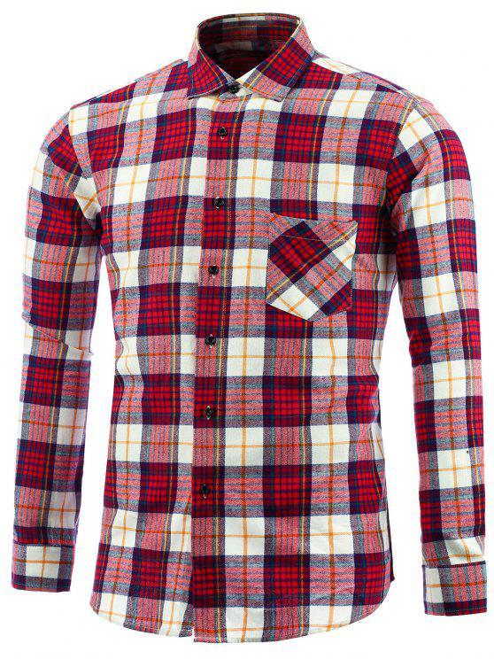women Long Sleeve Tartan Pocket Shirt - RED 4XL
