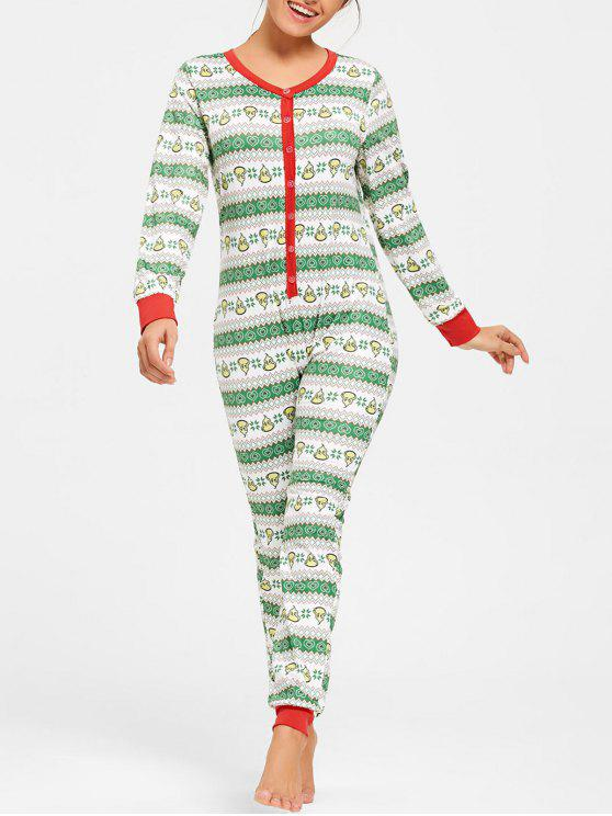trendy Printed One Piece Christmas Pajama - COLORMIX 2XL
