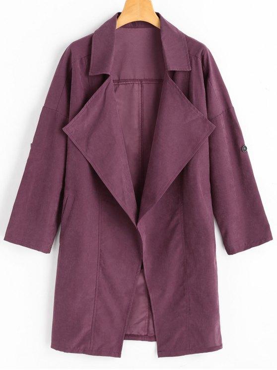 buy Drop Shoulder Lapel Trench Coat - PURPLISH RED 2XL