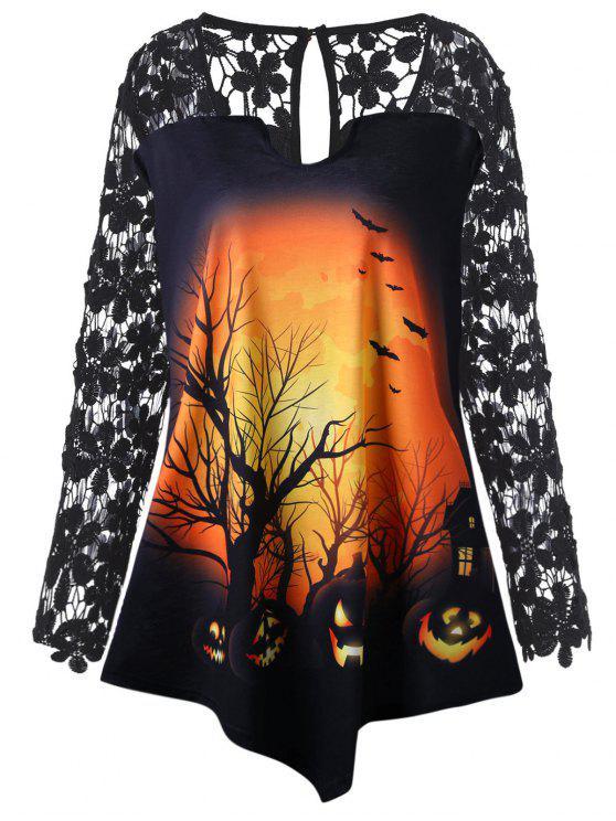 Halloween Spitze Einsatz Kürbis Übergroße Tunika T-Shirt - Schwarz 3XL