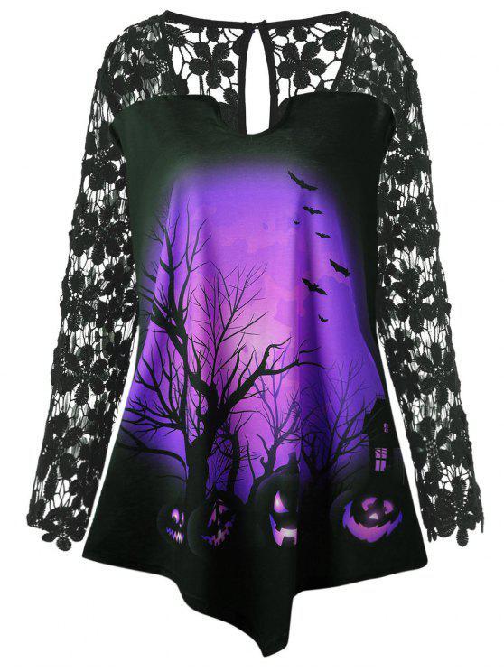 Halloween Spitze Einsatz Kürbis Übergroße Tunika T-Shirt - Lila 3XL