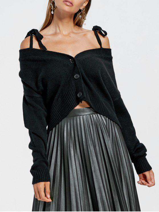 Casaco de lã baixo de ombro frio - Preto M