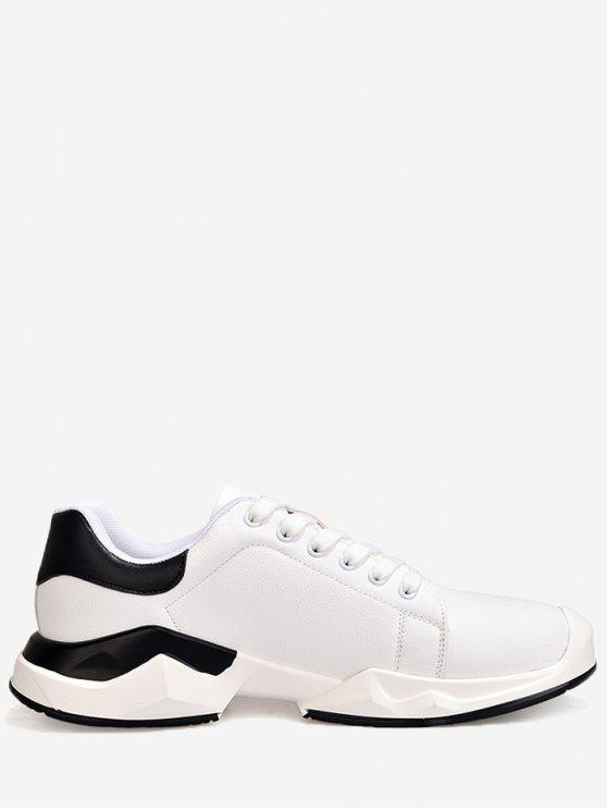 shop Contrasting Color Stitching Sneakers - WHITE 43