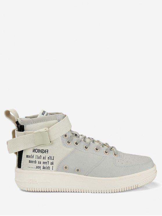 b68522b837c Buckle strap letter high top sneakers in beige zaful jpg 558x744 Beige high  top shoes