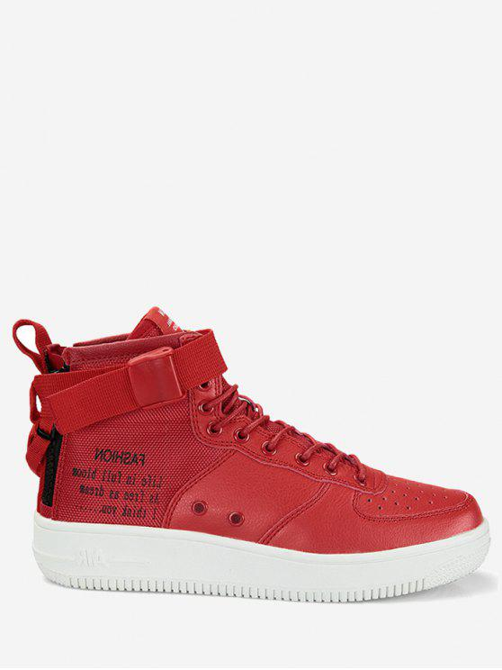 fancy Buckle Strap Letter High Top Sneakers - RED 45