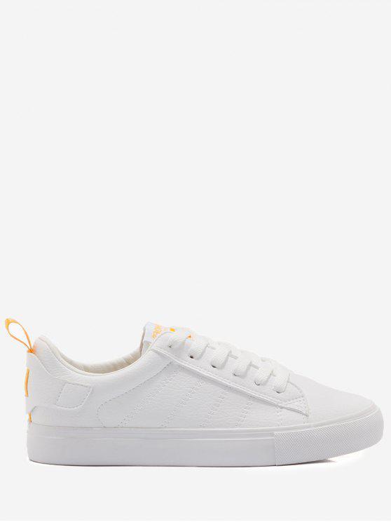 Zapatos de skate de costura con estampado de letras - Blanco+Amarillo 35