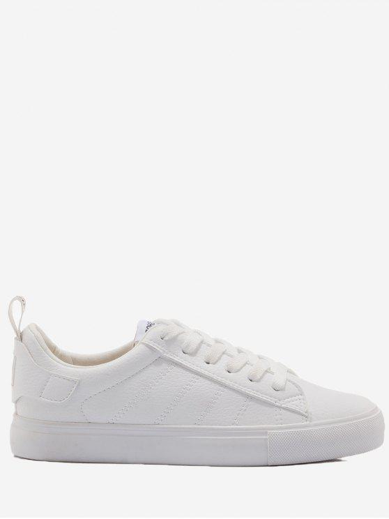 sale Letter Print Stitching Skate Shoes - WHITE 39