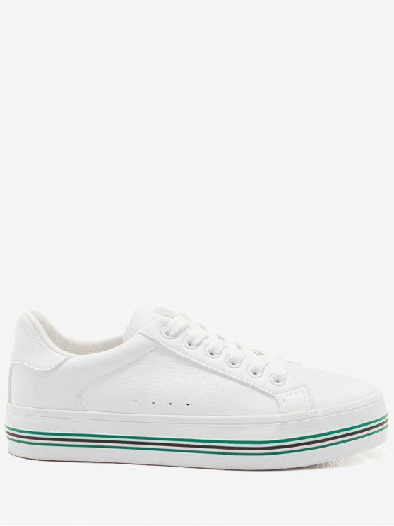 Zapatos de skate de bloque de color imitación de cuero - Blanco y Verde 35