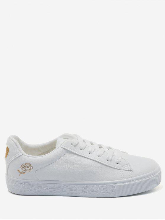 Zapatos del patín floral de costura - Dorado+Blanco 35