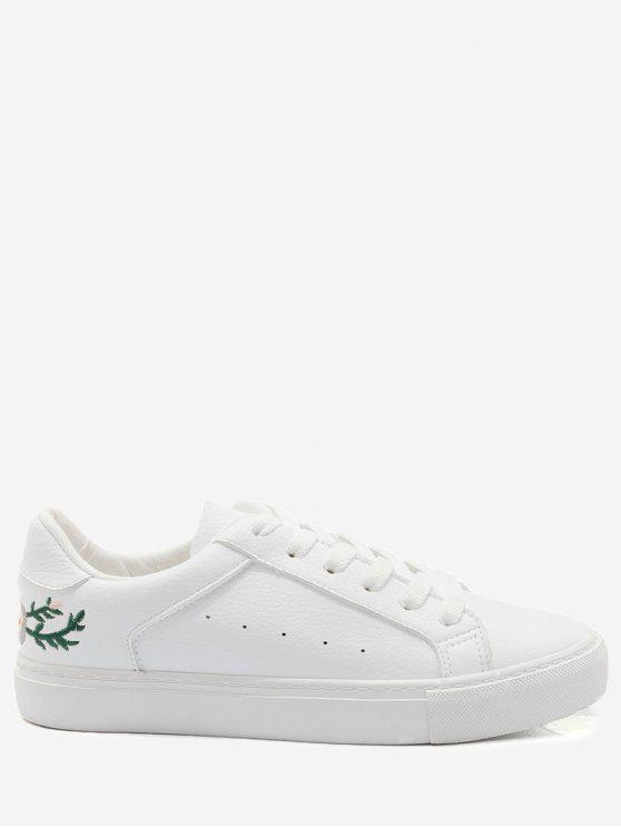 trendy Faux Leather Embroidery Flower Skate Shoes - WHITE 37