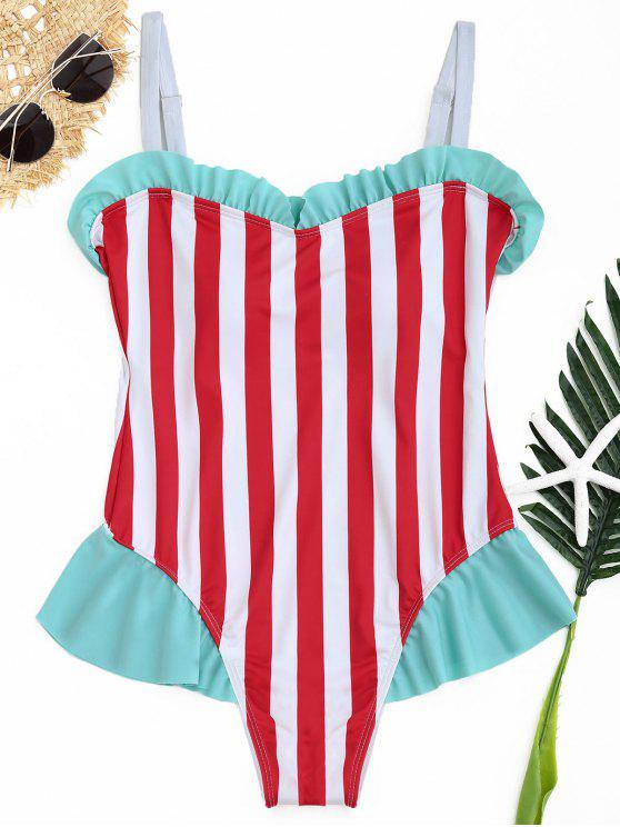 Ruffle Striped One Piece Swimwear - Cor Mistura S