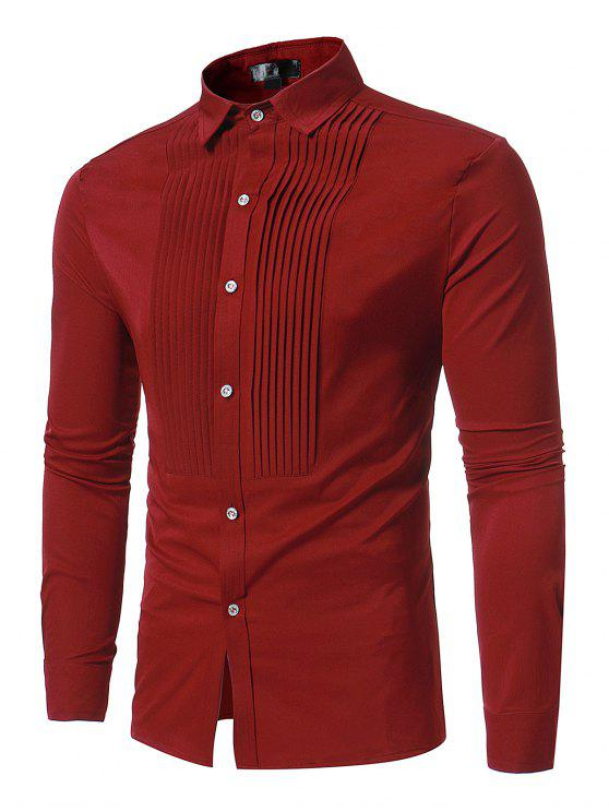 women Front Pleated Casual Long Sleeve Shirt - RED M