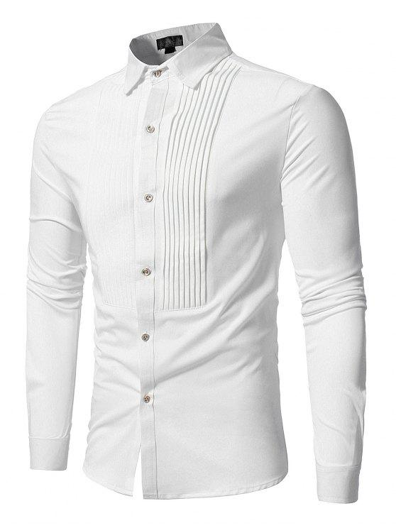 lady Front Pleated Casual Long Sleeve Shirt - WHITE XL