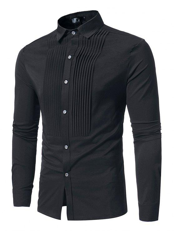 shop Front Pleated Casual Long Sleeve Shirt - BLACK S