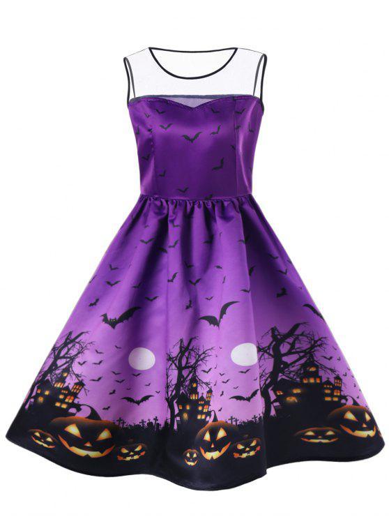 Halloween Plus Size Bat Pumpkin Mesh Insert Dress - Roxo 3XL