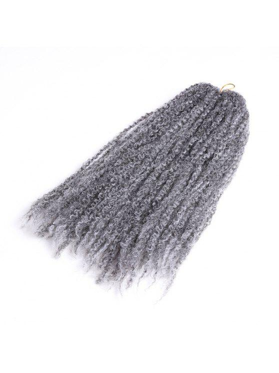 Long Shaggy Afro Kinky Curly Braids Sintético Hair Weave - Cinza