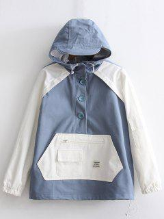 Half Buttoned Two Tone Hooded Jacket - Blue And White