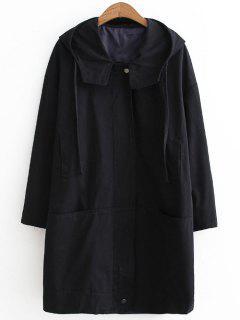 Loose Zip Up Hooded Coat - Black M