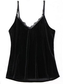 Lace Trim Velvet Babydoll Top - Black
