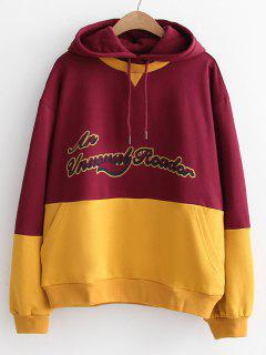 Oversized Letter Two Tone Hoodie - Yellow