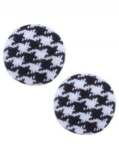 Round Two Tone Crochet Stud Earrings - Black White