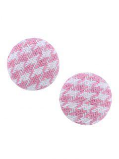 Round Two Tone Crochet Stud Earrings - Pink