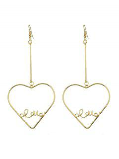 Alloy Heart Love Bar Hook Earrings - Golden