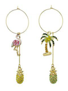 Coconut Tree Famingo Big Hoop Earrings - Pink