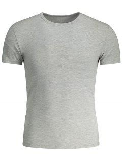 Kurzes Sleeve Slim Fit Tee - Grau Xl