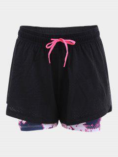 Overlay Drawstring Printed Sports Shorts - Black L