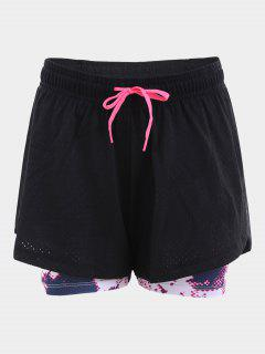 Overlay Drawstring Printed Sports Shorts - Black S
