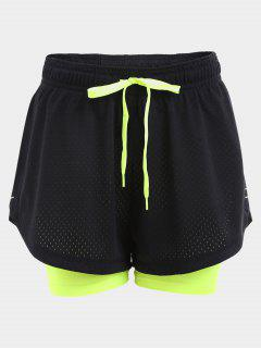 Overlay Drawstring Two Tone Sports Shorts - Black S