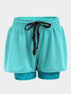 Double Layered Plaited Drawstring Sporty Shorts - Blue S