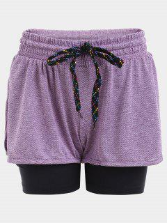 Double Layered Plaited Drawstring Sporty Shorts - Purple S