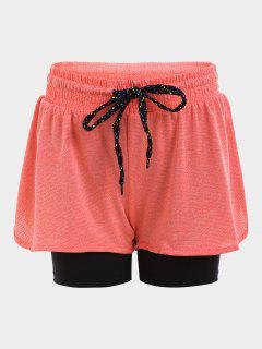 Double Layered Plaited Drawstring Sporty Shorts - Orange S