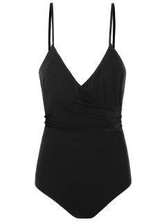 Open Back Sleeveless Plunging Bodysuit - Black L