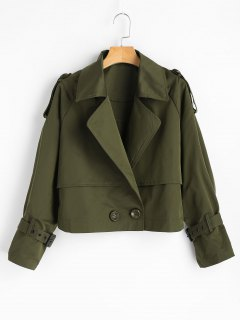 Letter Double-breasted Cropped Jacket - Army Green S