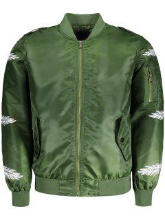 Feather Print Bomber Jacket - Green 2xl