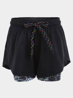 Overlay Plaited Drawstring Sports Shorts - Black M