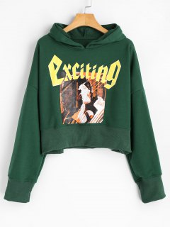 Cropped Cartoon Letter Hoodie - Green S